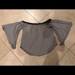 Karen Kane Black Striped Off Shoulder Shirt Large